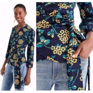 J.Crew Drapey Crepe Floral 3/4 Sleeves Wrap Top